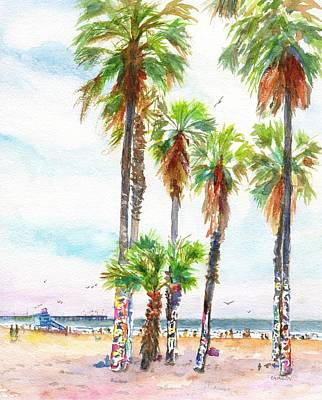 Painting - Venice Beach California Graffiti Palm Trees by CarlinArt Watercolor