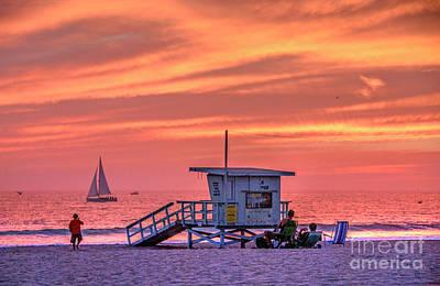 Photograph - Venice Beach Fiery Sunset  by David Zanzinger