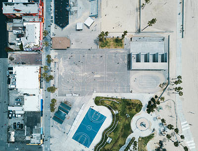 Basketball Abstract Photograph - Venice Beach From Above by Andrew Mason