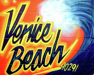 Zip Code Photograph - Venice Beach Mural by Art Block Collections