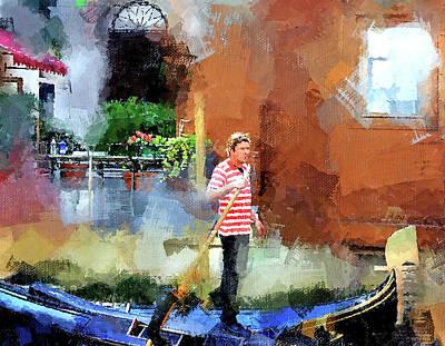 Digital Art - Venice Boat Rider by Yury Malkov