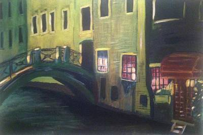 Painting - Venice Bridge At Night by Rebecca Gilsdorf