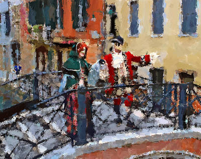 Digital Art - Venice Bridge Love by Yury Malkov