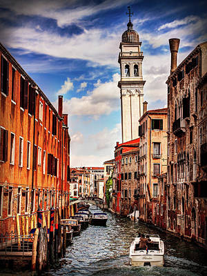 Photograph - Venice Canal And Leaning Bell Tower by Barry O Carroll