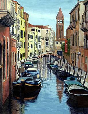 Painting - Venice Canal Reflections by Janet King