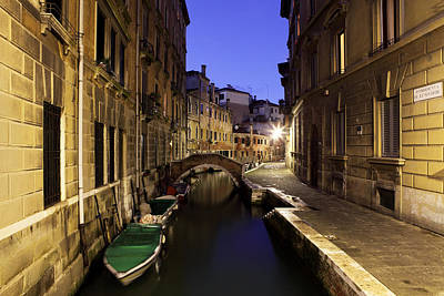 Photograph - Venice Canal At Night by Paul Cowan