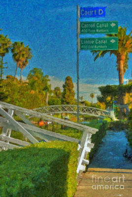 Print featuring the photograph Venice Canal Bridge Signs by David Zanzinger