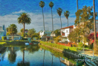 Venice Canal Houses Watercolor  Art Print by David Zanzinger