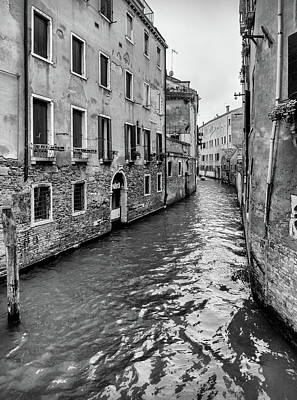 Photograph - Venice Canal In Black And White by Georgia Fowler