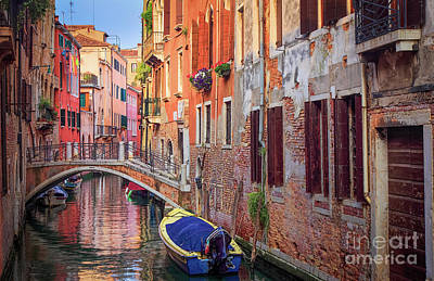 Veneto Photograph - Venice Canal by Inge Johnsson
