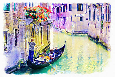 Scenery Mixed Media - Venice Canal by Marian Voicu