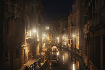 Photograph - Venice Canal Misty Night by Songquan Deng
