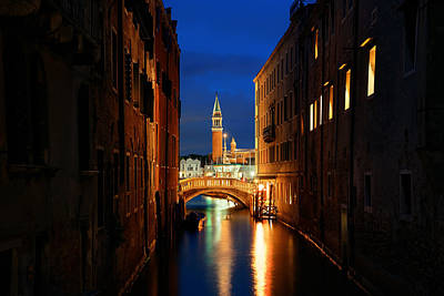 Photograph - Venice Canal Night San Giorgio Maggiore by Songquan Deng