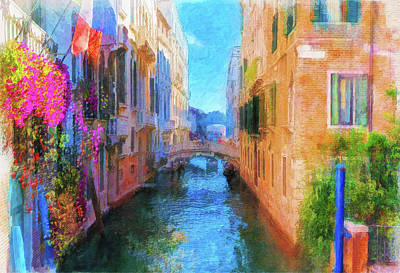 Digital Art - Venice Canal Painting by Michael Cleere