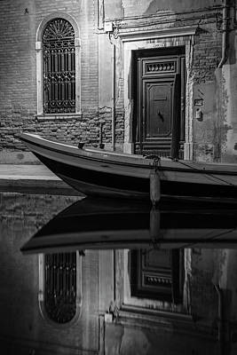 Photograph - Venice Canal Reflection At Night  by John McGraw