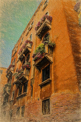 Photograph - Venice Canal Windows Textured by Kathleen Scanlan