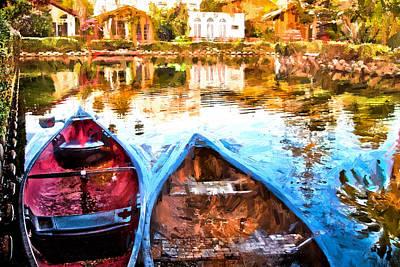 Canoe Digital Art - Venice Canals Canoes In California by Vivian Frerichs