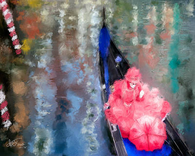 Art Print featuring the photograph Venice Carnival. Masked Woman In A Gondola by Juan Carlos Ferro Duque