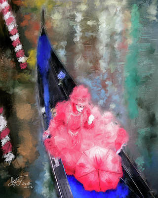Photograph - Venice. Carnival. Masked Woman In Gondola by Juan Carlos Ferro Duque