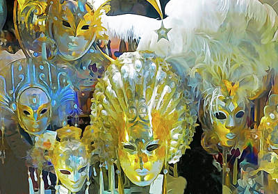 Digital Art - Venice Carnival Masks by Dennis Cox WorldViews