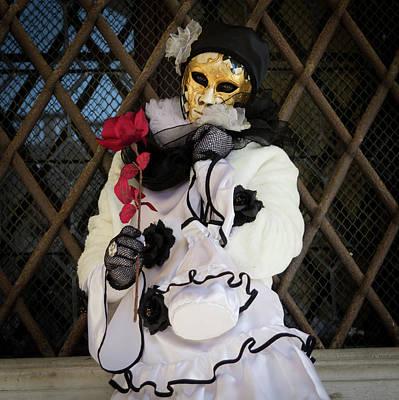 Festivale Photograph - Venice Carnival Pierrot by Asgeir Pedersen