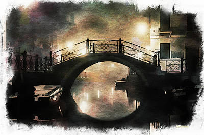 Photograph - Venice City Bridge - Watercolor by Ericamaxine Price