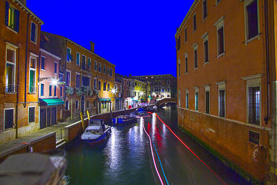 Venice  Dorsoduro By Night Art Print by Jean-luc Bohin