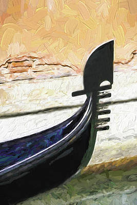 Digital Art - Venice Gondola Bowsprit by Dennis Cox WorldViews
