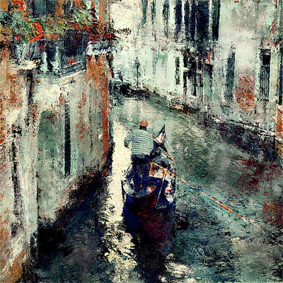 Digital Art - Venice Gondola Man 1 by Yury Malkov