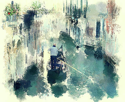 Digital Art - Venice Gondola Man 2 by Yury Malkov