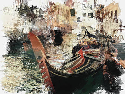 Digital Art - Venice Gondola Man 3 by Yury Malkov