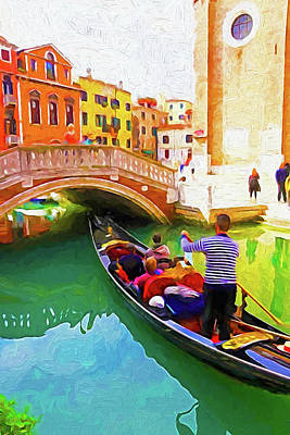 Digital Art - Venice Gondola Series #1 by Dennis Cox WorldViews