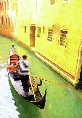 Digital Art - Venice Gondola Series #2 by Dennis Cox WorldViews