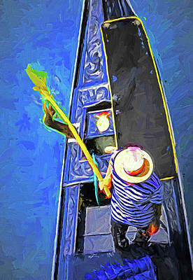 Digital Art - Venice Gondola Series #4 by Dennis Cox WorldViews