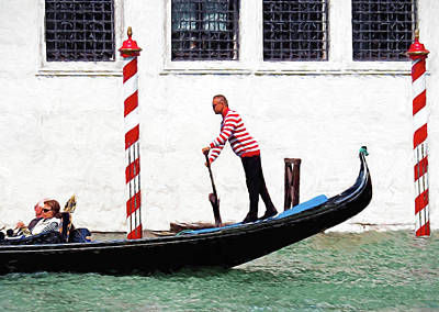 Digital Art - Venice Gondola Series #5 by Dennis Cox WorldViews
