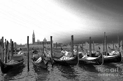 Venice Gondolas Black And White Art Print