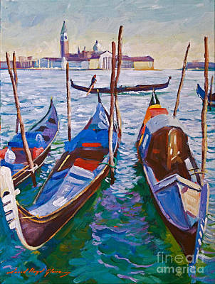 Venice Gondolas Art Print by David Lloyd Glover