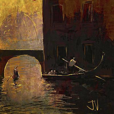Digital Art - Venice Gondolas by Jim Vance