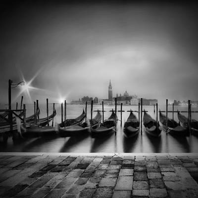 Venice Gondolas On A Foggy Morning Monochrome Art Print by Melanie Viola