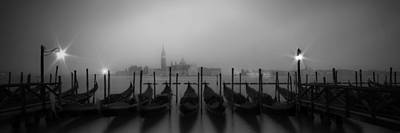 Venice Gondolas On A Foggy Morning Panoramic View Art Print