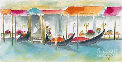 Pause Painting - Venice Gondolas by Pat Katz