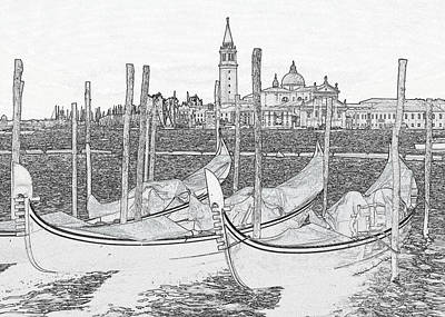 Farm Life Paintings Rob Moline Royalty Free Images - Venice Gondolas Pen and Ink Royalty-Free Image by Bob Neiman
