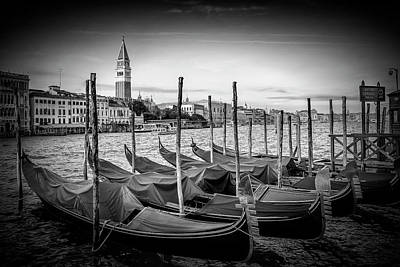 Venice Grand Canal And St Mark's Campanile - Monochrome Art Print by Melanie Viola