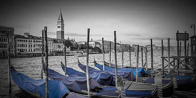 Venice Grand Canal And St Mark's Campanile Panoramic View Art Print by Melanie Viola