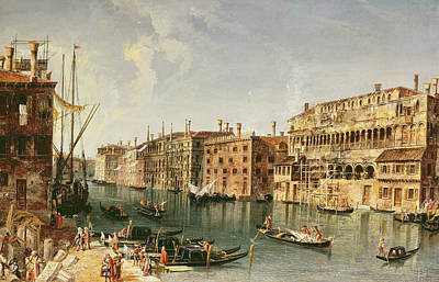 Scenes Of Italy Painting - Venice, Grand Canal And The Fondaco Dei Turchi  by Michele Marieschi