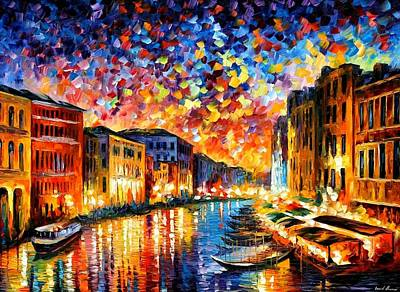 Seascape Oil Painting - Venice - Grand Canal by Leonid Afremov