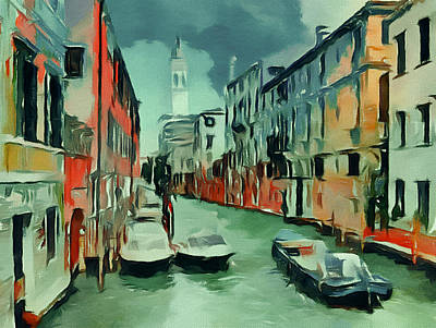 Digital Art - Venice Green Tones by Yury Malkov