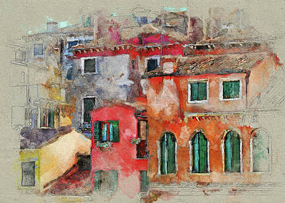 Digital Art - Venice Half Painted by Yury Malkov