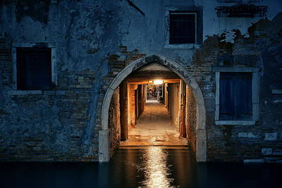 Photograph - Venice Hallway Night by Songquan Deng