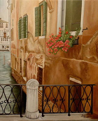 Venetian Balcony Painting - Venice In June by Angeles M Pomata